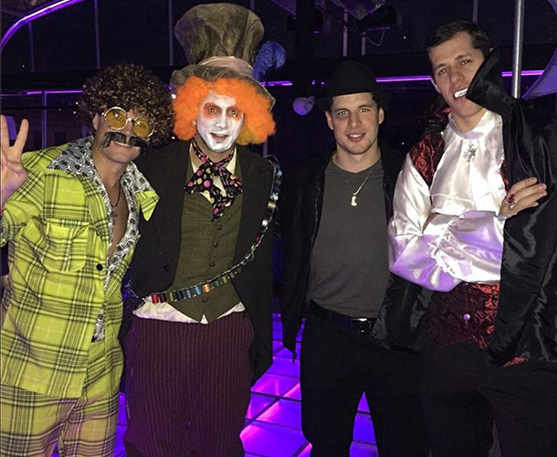From left to right: Malkin's friend Max Ivanov, Kris Letang, Sidney Crosby, Evgeni Malkin