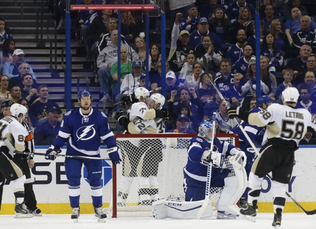Jan 15, 2016; Tampa, FL, USA; Pittsburgh Penguins right wing Patric Hornqvist (72) is congratulated as he scores a goal against the Tampa Bay Lightning during the second period at Amalie Arena. Mandatory Credit: Kim Klement-USA TODAY Sports