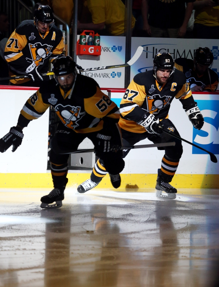 May 30, 2016; Pittsburgh, PA, USA; Pittsburgh Penguins center Sidney Crosby (87) and center Evgeni Malkin (71) take the ice before the first period game one of the 2016 Stanley Cup Final against the San Jose Sharks at Consol Energy Center. Mandatory Credit: Charles LeClaire-USA TODAY Sports