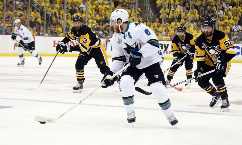 May 30, 2016; Pittsburgh, PA, USA; San Jose Sharks center Joe Pavelski (8) skates with the puck against the Pittsburgh Penguins in the first period game one of the 2016 Stanley Cup Final at Consol Energy Center. Mandatory Credit: Charles LeClaire-USA TODAY Sports