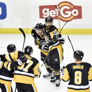 May 30, 2016; Pittsburgh, PA, USA; Pittsburgh Penguins left wing Conor Sheary (43) celebrates with teammates after scoring a goal against the San Jose Sharks in the first period in game one of the 2016 Stanley Cup Final at Consol Energy Center. Mandatory Credit: Don Wright-USA TODAY Sports