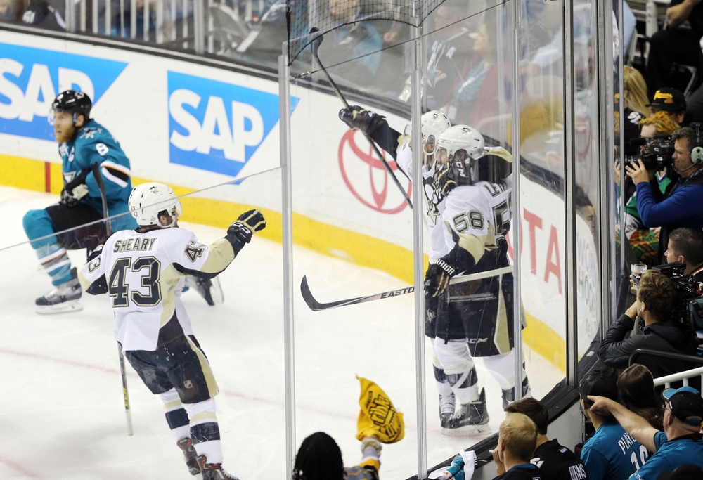 Jun 12, 2016; San Jose, CA, USA; Pittsburgh Penguins defenseman Kris Letang (58) celebrates with teammates after scoring a goal against the San Jose Sharks in the second period of game six of the 2016 Stanley Cup Final at SAP Center at San Jose. Mandatory Credit: John Hefti-USA TODAY Sports